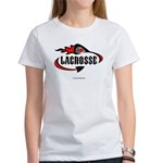 Lacrosse-Flaming Stick Design. Women's T-Shirt
