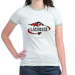Lacrosse-Flaming Stick Design. Jr. Ringer T-Shirt