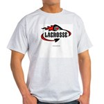 Lacrosse-Flaming Stick Design. Ash Grey T-Shirt