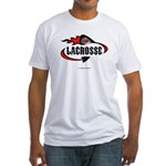 Lacrosse-Flaming Stick Design. Fitted T-Shirt