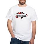 Lacrosse-Flaming Stick Design. White T-Shirt