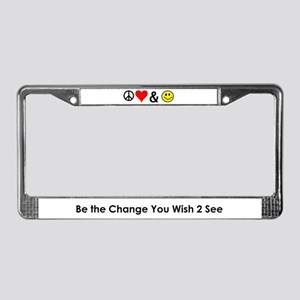 License Plate Frame (Peace, Love, & Happiness)