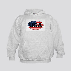 USA Flag in Oval Kids Hoodie