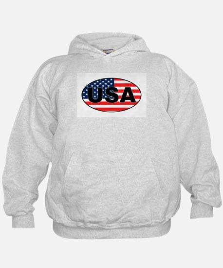 USA Flag in Oval Hoodie
