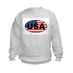 USA Flag in Oval Sweatshirt