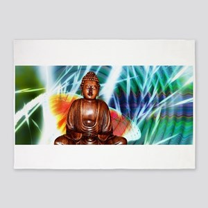 Sitting Wooden Buddha 5'x7'Area Rug