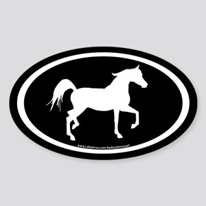 Arabian Horse Oval (wh/blk) Oval Sticker