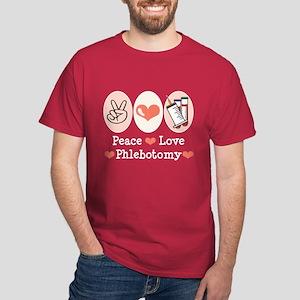 Peace Love Phlebotomy Dark T-Shirt