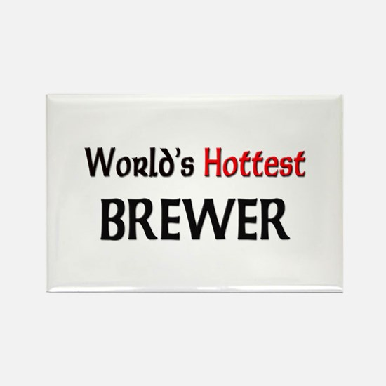 World's Hottest Brewer Rectangle Magnet