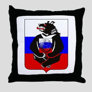 Russian Football Bear Throw Pillow