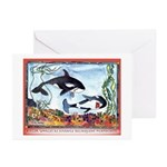 Pickpocketing Whales Greeting Cards (Pk of 10)