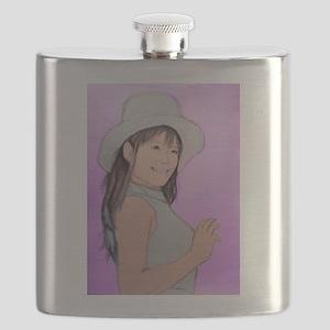 Girl Woman Portrait Artwork Flask