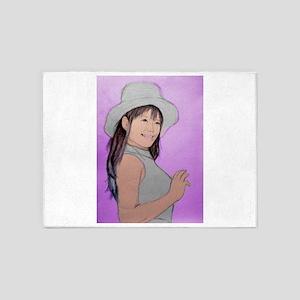 Girl Woman Portrait Artwork 5'x7'Area Rug