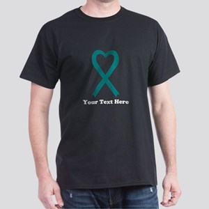 Personalized Teal Awareness Ribbon Dark T-Shirt