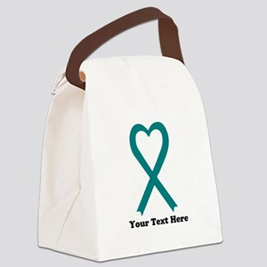 Personalized Teal Awareness Ribb Canvas Lunch Bag