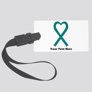 Personalized Teal Awareness Rib Large Luggage Tag