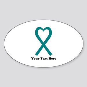 Personalized Teal Awareness Ribbon Sticker (Oval)