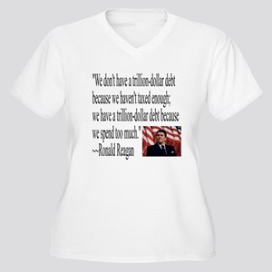 Reagan on Debt and Taxes Women's Plus Size V-Neck