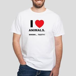 """""""I Love Animals"""" White T-Shirt"""