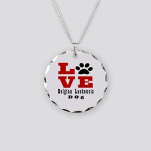 Love Belgian Leakenois Dog D Necklace Circle Charm