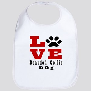 Love Bearded Collie Dog Designs Cotton Baby Bib