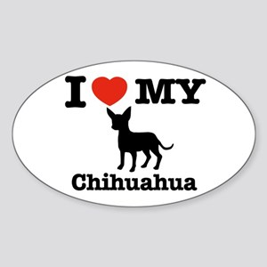 I love my Chihuahua Oval Sticker