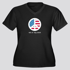 4th of July Women's Plus Size V-Neck Dark T-Shirt
