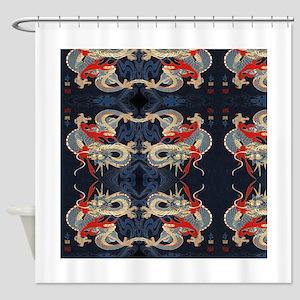 dragon japanese textile Shower Curtain