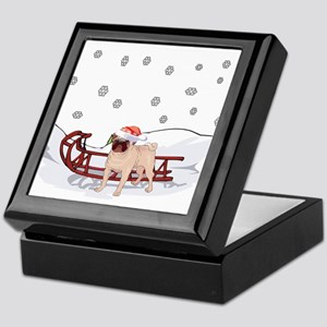 Sledding Pug Keepsake Box