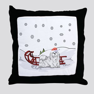 Sledding Maltese Throw Pillow