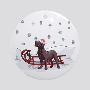 Sledding Chocolate Lab Ornament (Round)