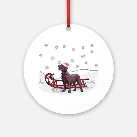 Sledding Chocolate Lab Ornament (Round)