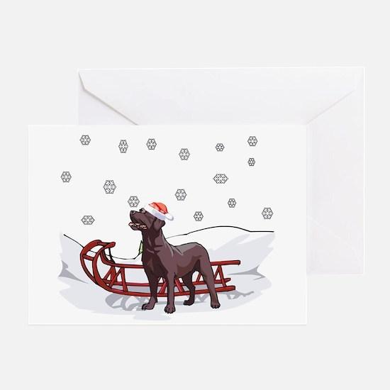 Sledding Chocolate Lab Greeting Card