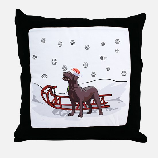 Sledding Chocolate Lab Throw Pillow