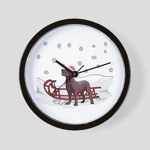 Sledding Chocolate Lab Wall Clock