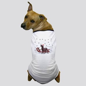 Sledding Chocolate Lab Dog T-Shirt