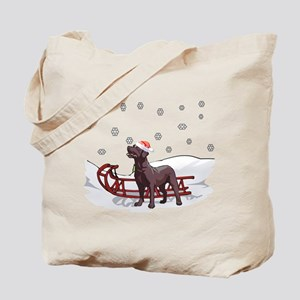 Sledding Chocolate Lab Tote Bag