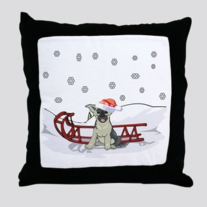 Sledding German Shepard Throw Pillow