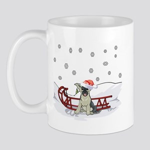 Sledding German Shepard Mug