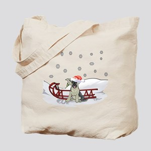 Sledding German Shepard Tote Bag