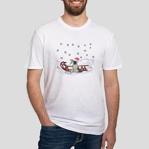 Sledding German Shepard Fitted T-Shirt