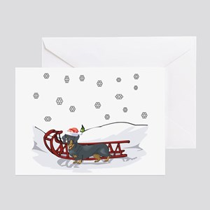 Sledding Dachshund Greeting Cards (Pk of 10)