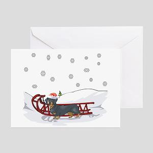 Sledding Dachshund Greeting Cards (Pk of 10)