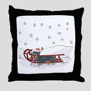 Sledding Dachshund Throw Pillow