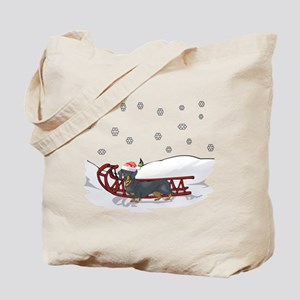 Sledding Dachshund Tote Bag