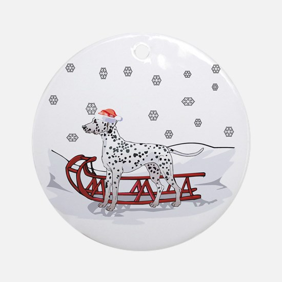 Sledding Dalmatian Ornament (Round)