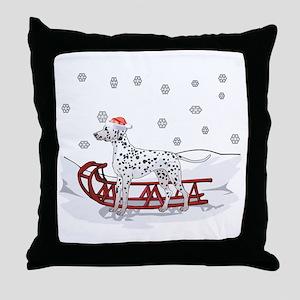 Sledding Dalmatian Throw Pillow
