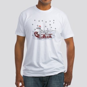 Sledding Dalmatian Fitted T-Shirt