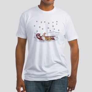 Sledding Welsh Corgi Fitted T-Shirt