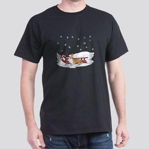 Sledding Welsh Corgi Dark T-Shirt